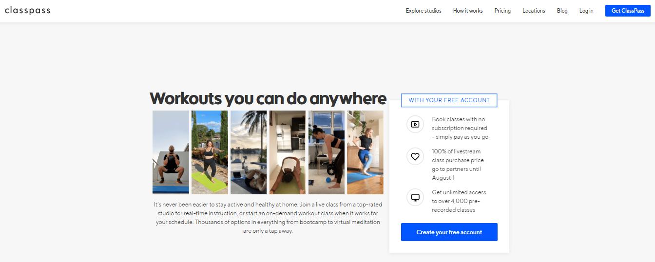 Top Fitness Website: classpass