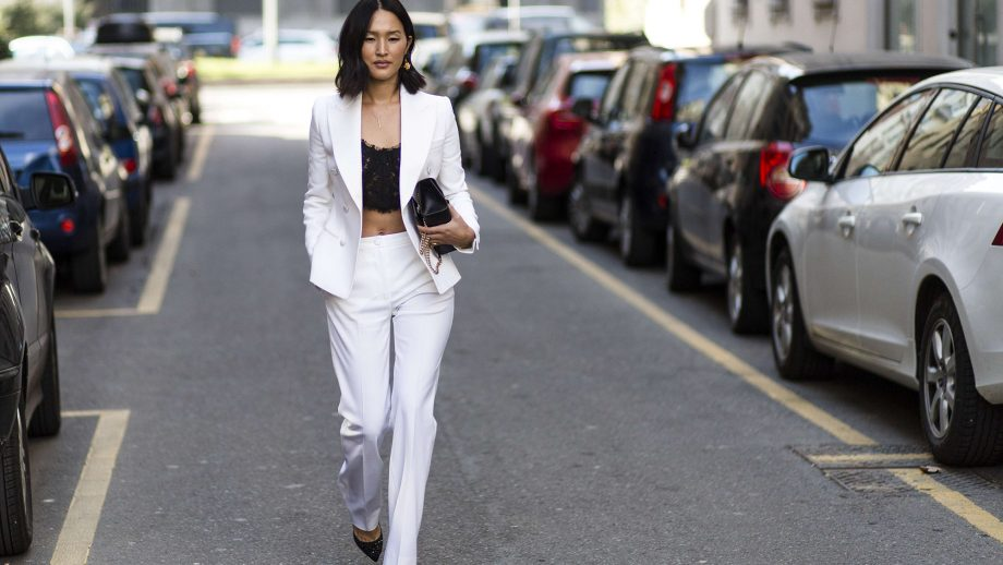 Image result for pantsuit with a crop top
