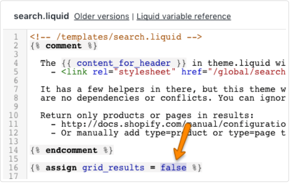 Search.liquid Shopify