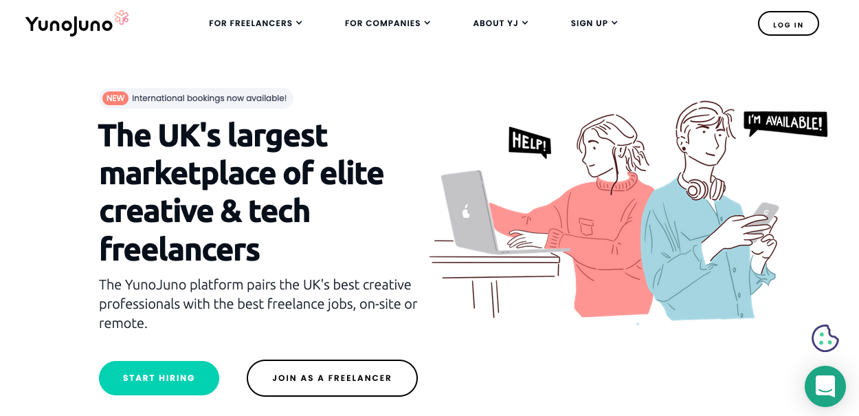 Screenshot of freelancing website: YunoJuno