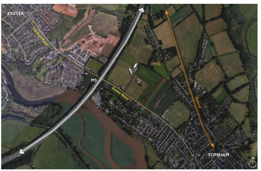 The Exeter Road site where 85 homes will be built in the Topsham gap.