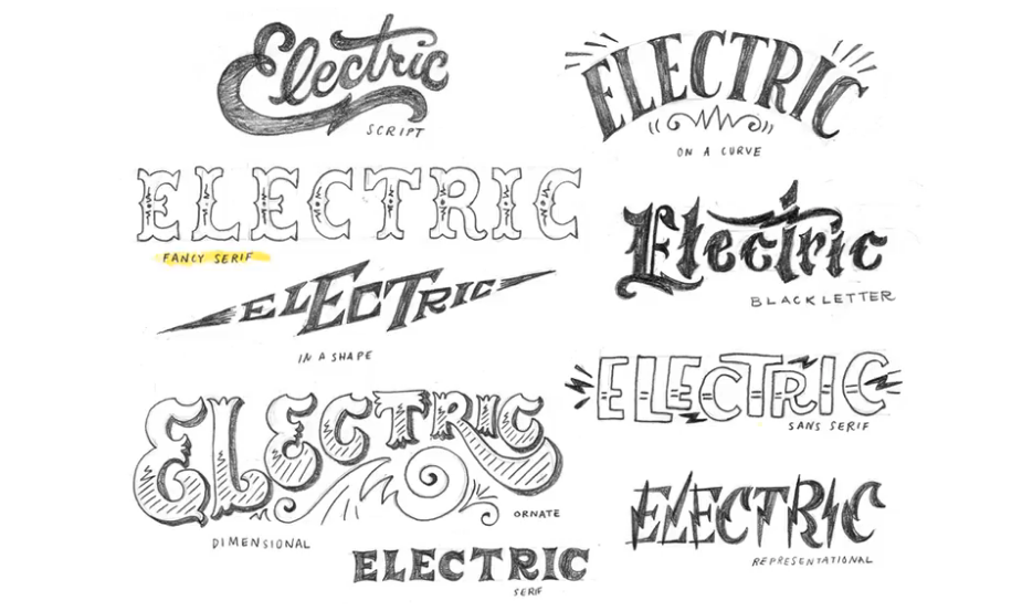 electric in hand written fonts