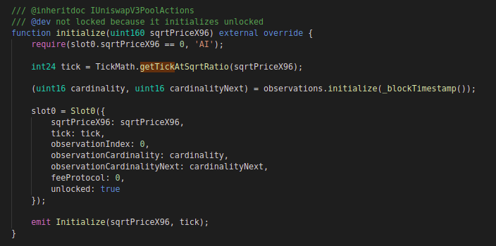 Uniswap v3: Code block for initialize function