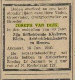 11 januari 1929 Algemeen Handelsblad Joseph van Dijk
