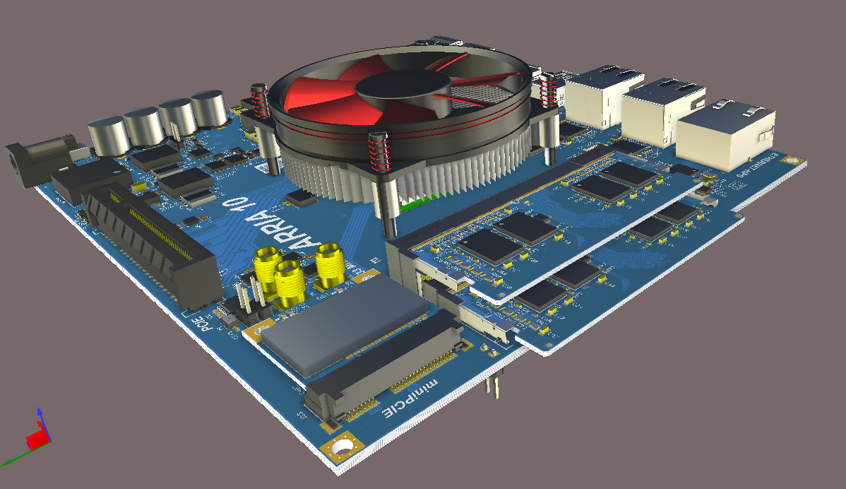 Screenshot of AD18 3D multi-assembly in Gerber Files and 3D PCB Editor