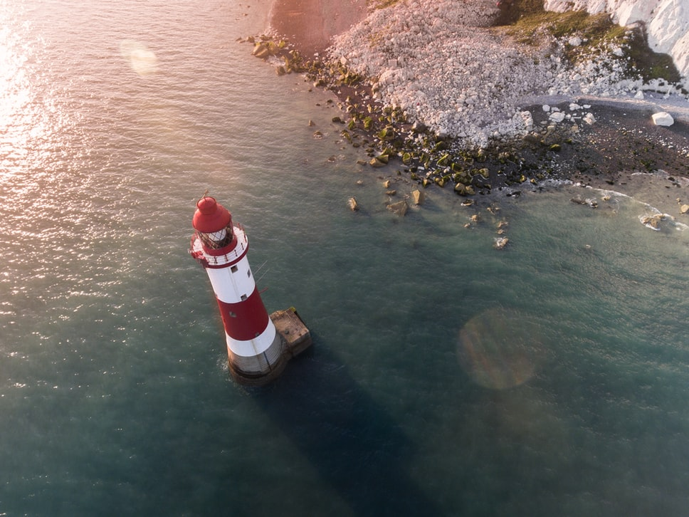 Overhead image of a lighthouse taken by a drone