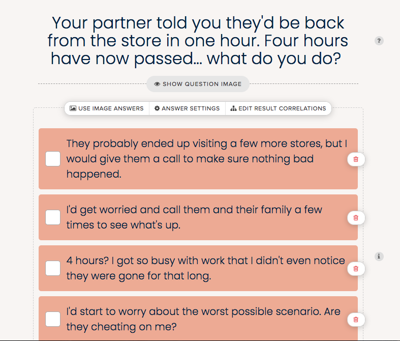 what would you do if your partner said they would be back in an hour and it's been four question and answer choices