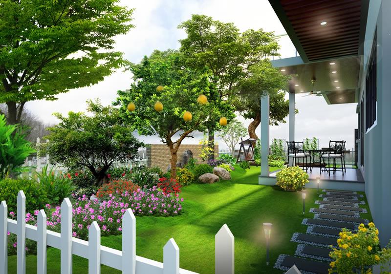 Tiểu cảnh sân vườn cho nhà biệt thự