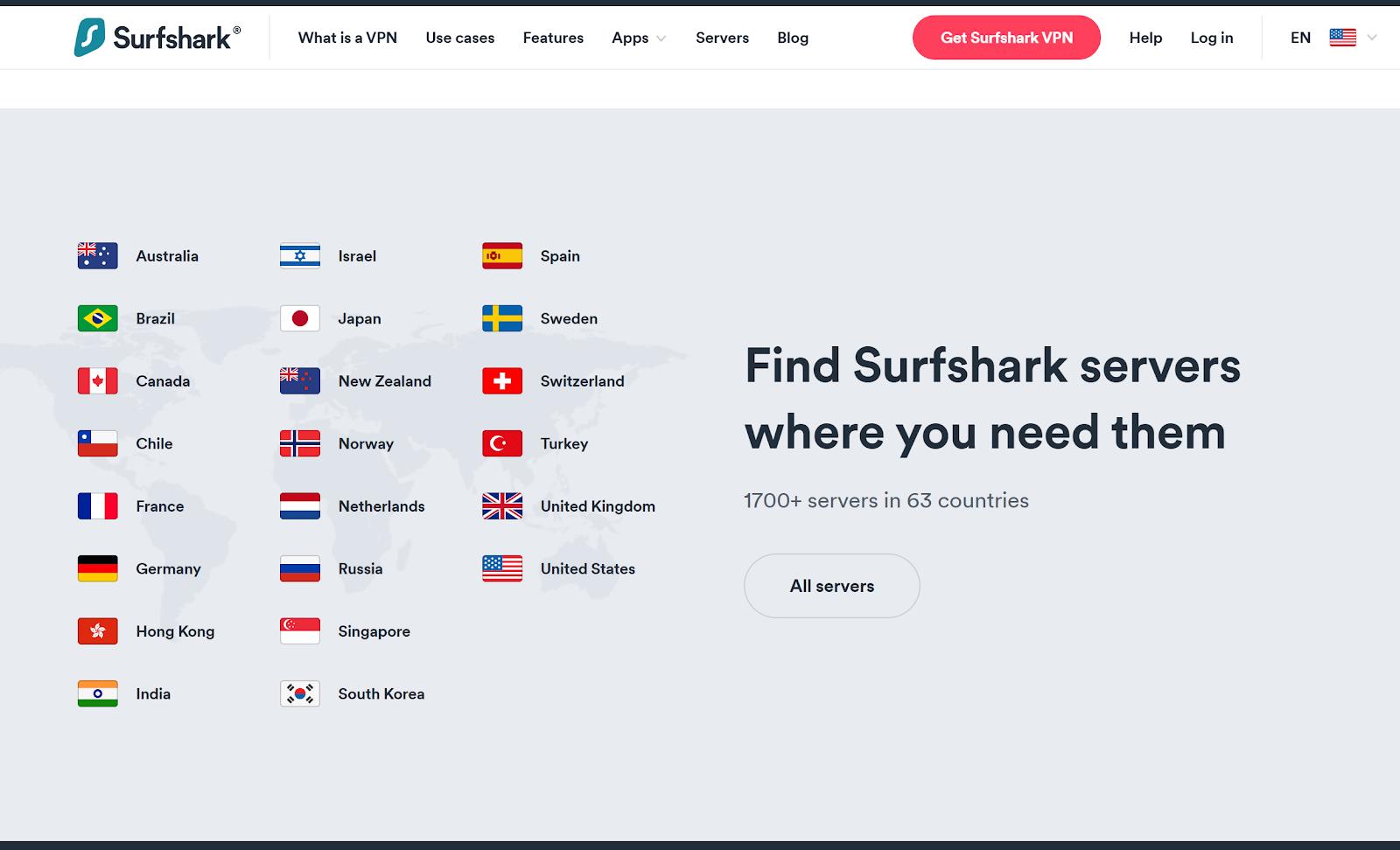 surfshark server location