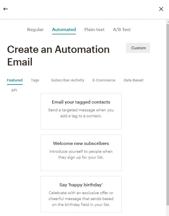 Automazioni Mailchimp