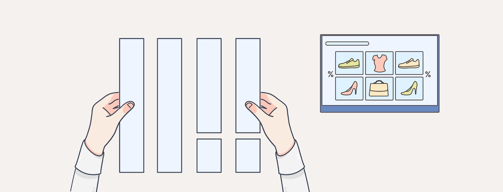 Illustration of hands organising the layout of web designs