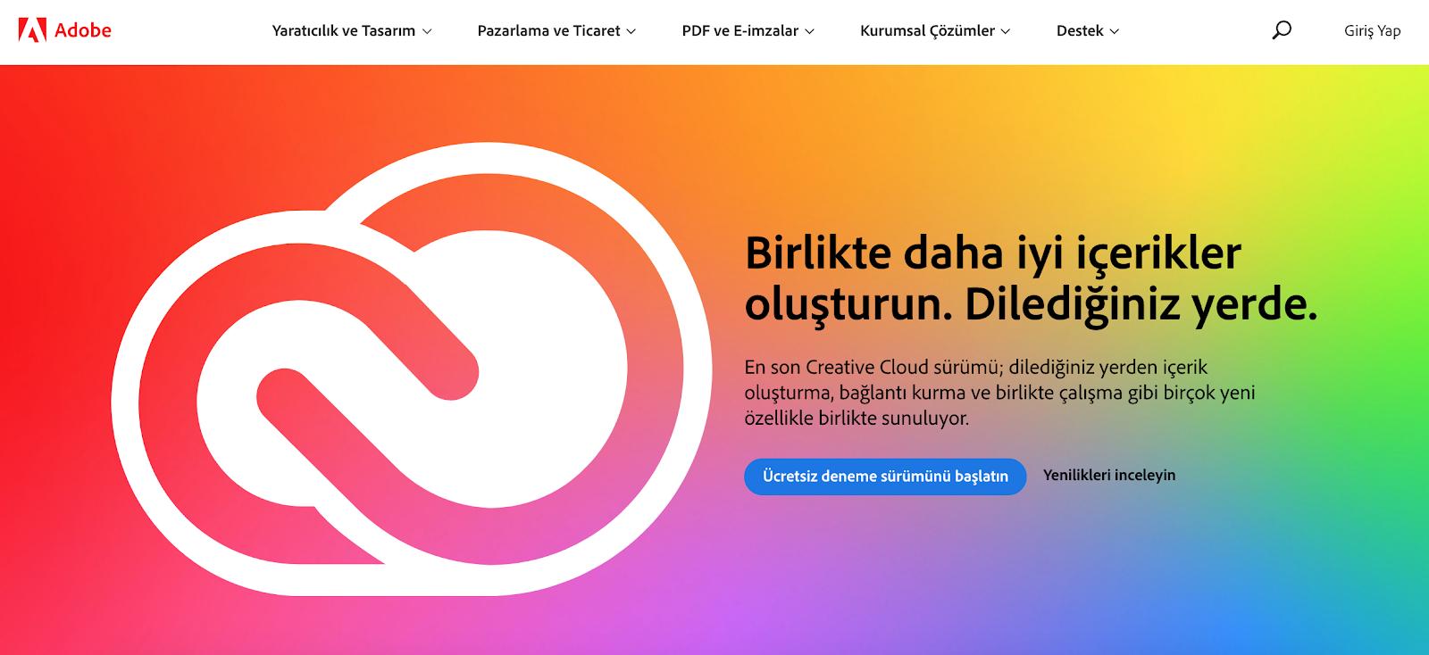 Adobe Turkish version of website