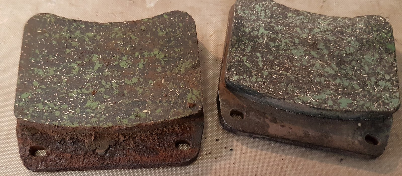 Bonneville brake pads after years of standing.