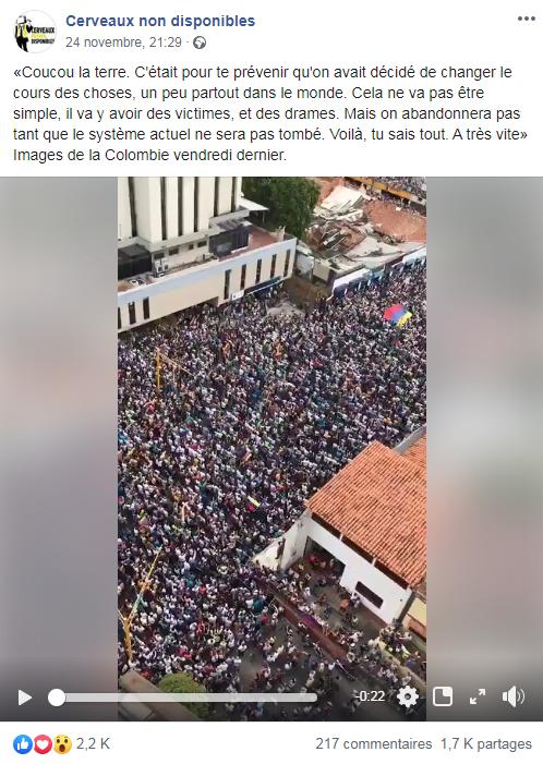 """Capture d'écran de la vidéo postée sur le compte Facebook """"Cerveaux non disponibles"""" le 24 novembre 2019, réalisée le 27 novembre 2019"""