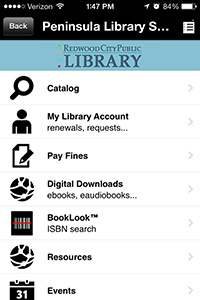 Peninsula Library System: Redwood City Public Library's Main Menu