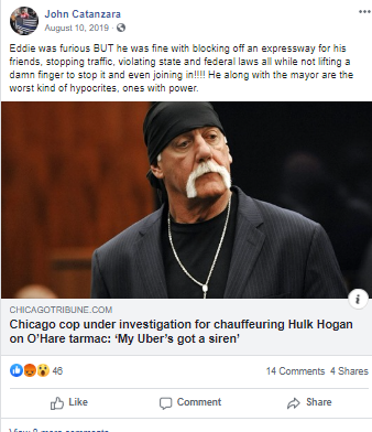Facebook post by Catanzara with link abut a CPD officer under investigation