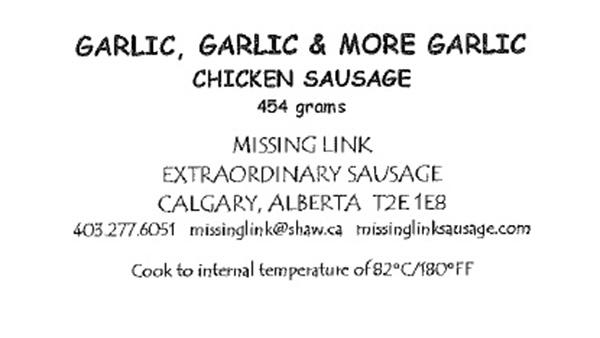 Garlic, Garlic, & More Garlic: Chicken Sausage - 454 grams