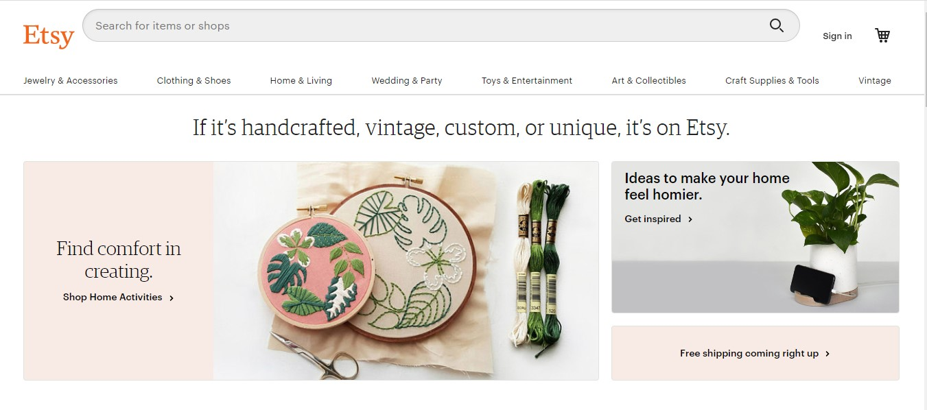 Etsy's landing page.