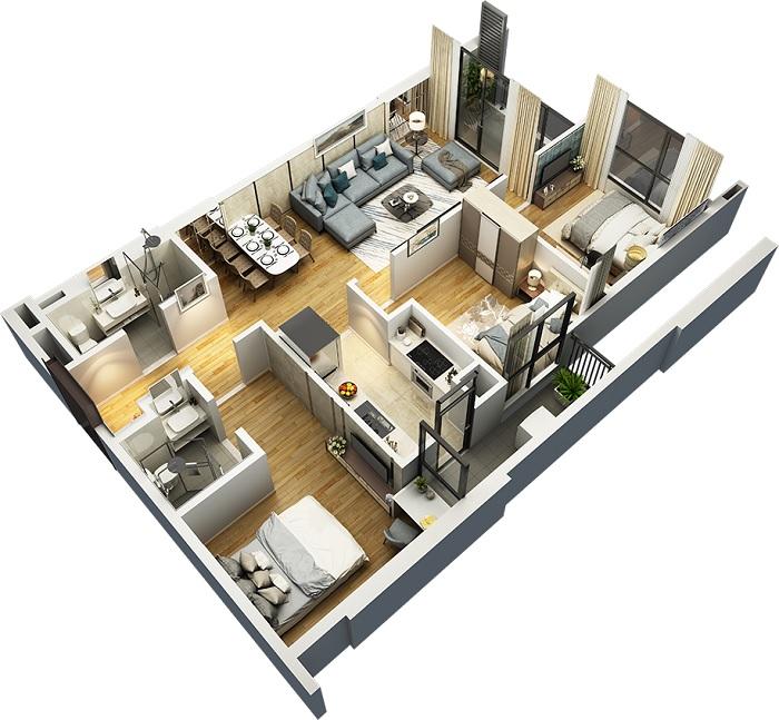 thiết kế nội thất chung cư tối giản
