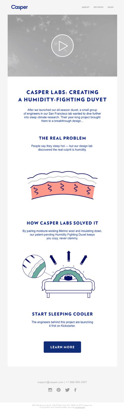 An email from Casper labs with laid out text, visuals, and one main CTA button at the bottom that says 'Learn More'.