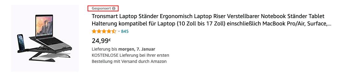 Amazon Sponsored Products Anzeigen