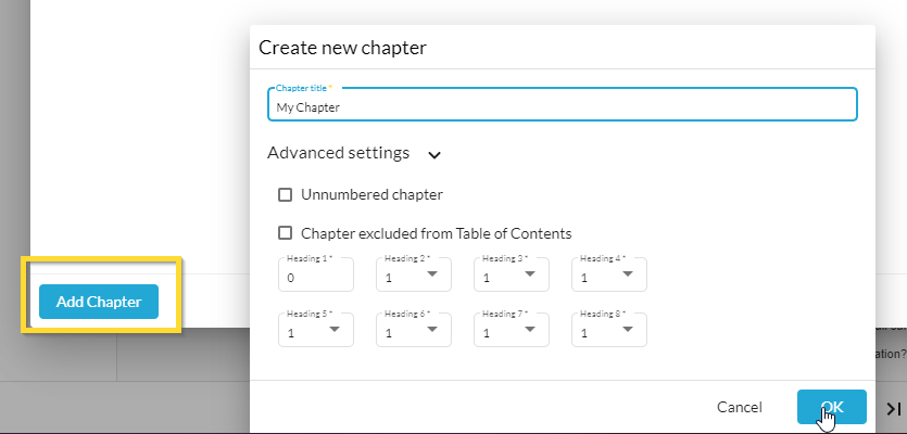 Adding a new chapter in Web Manuals page structure under author
