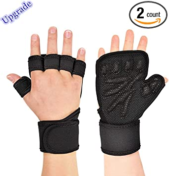 Fingerless glove with extended pad and a wrist wrap