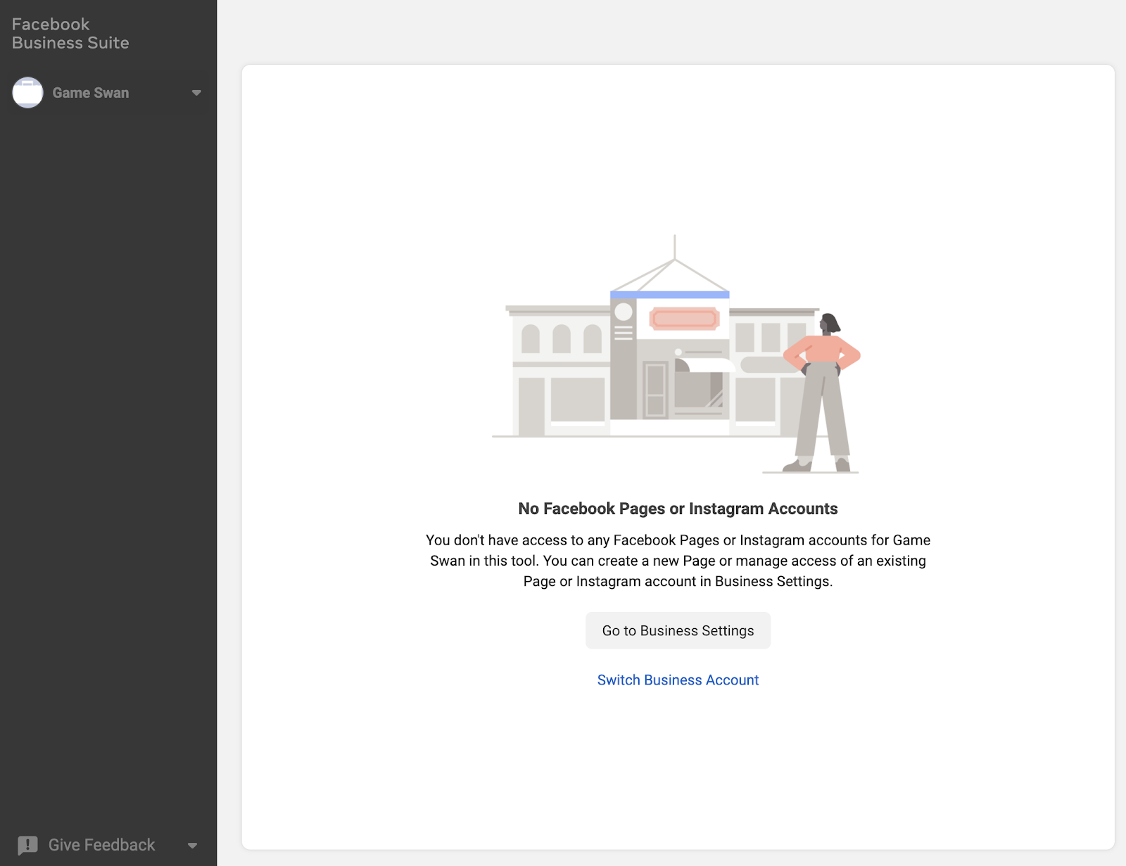 Facebook Business suite load page
