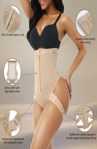 FeelinGirl Women High Waist Tummy Control Butt Lifter Shaper Thong