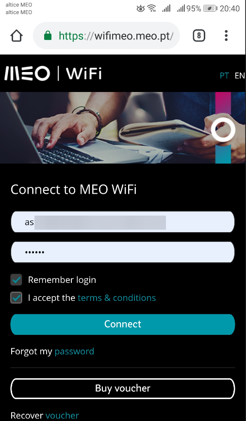 No portal wifimeo.meo.pt insira os os dados de autenticação do MEO WiFi