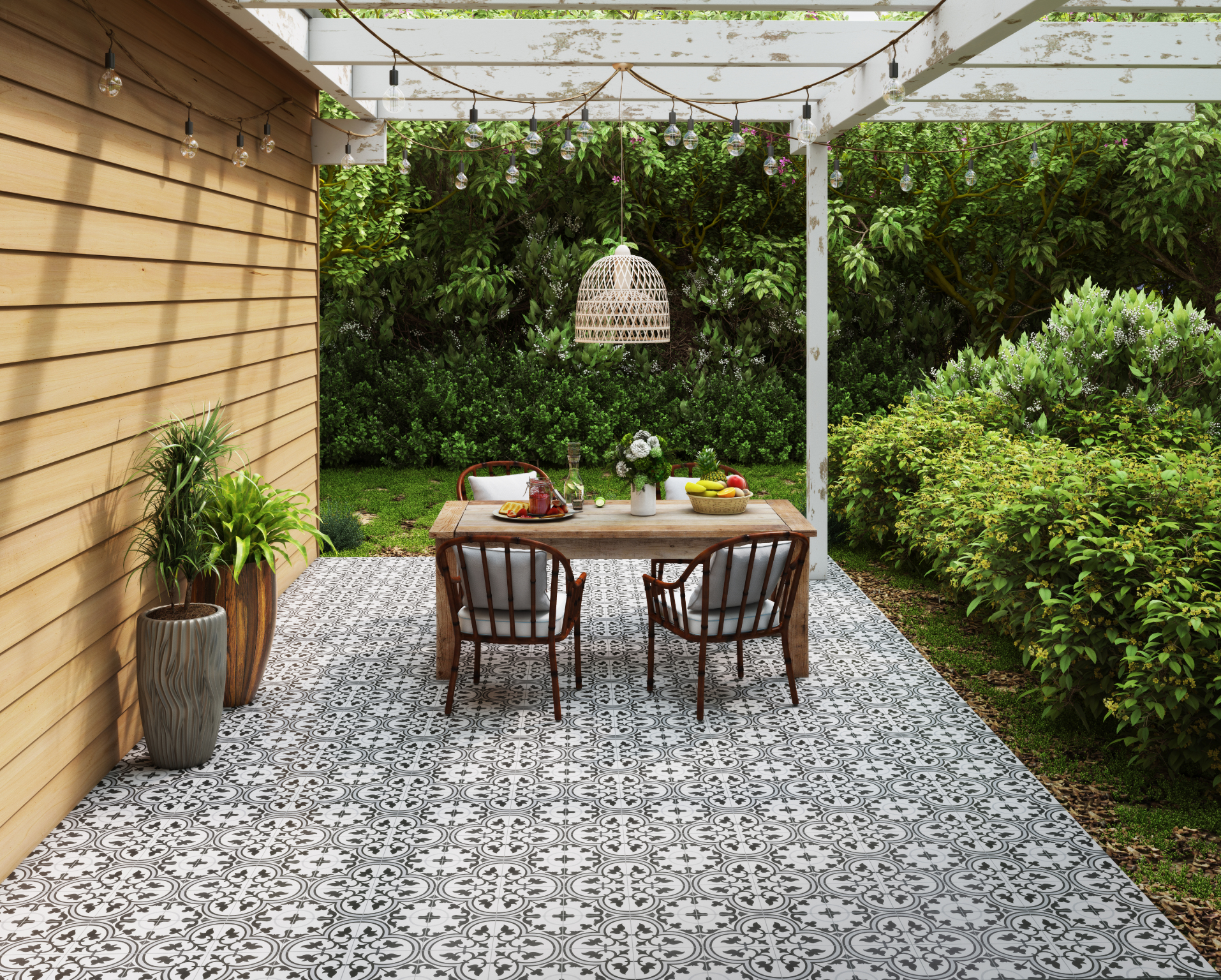 Patterned tile flooring in an outdoor dining area