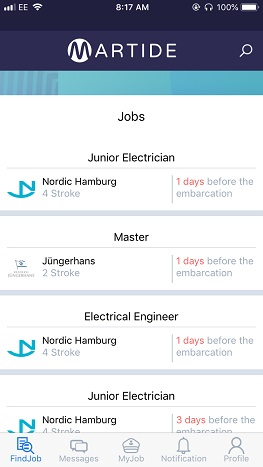 screenshot showing Martide's mobile maritime recruitment app