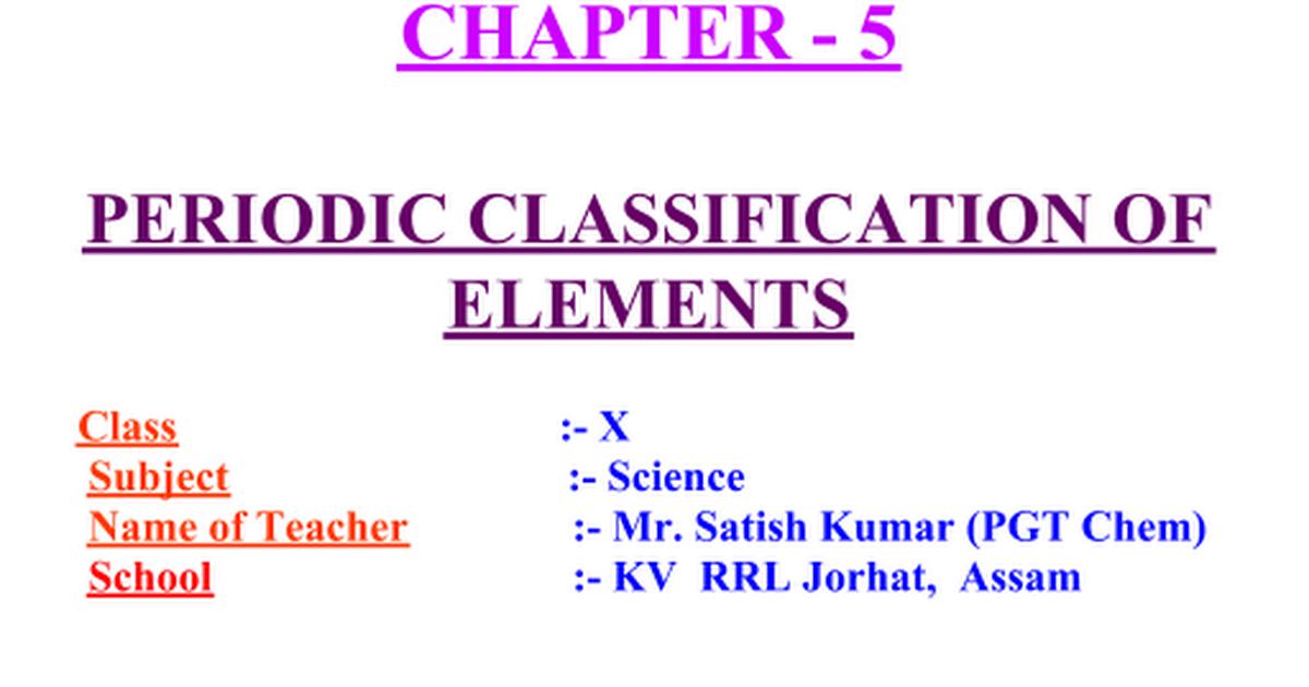 Periodic Classification Of Elementsppt Google Slides
