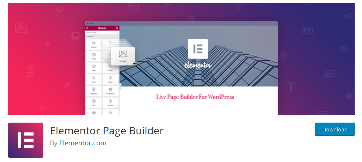 elementor wordpress page builder plugin header