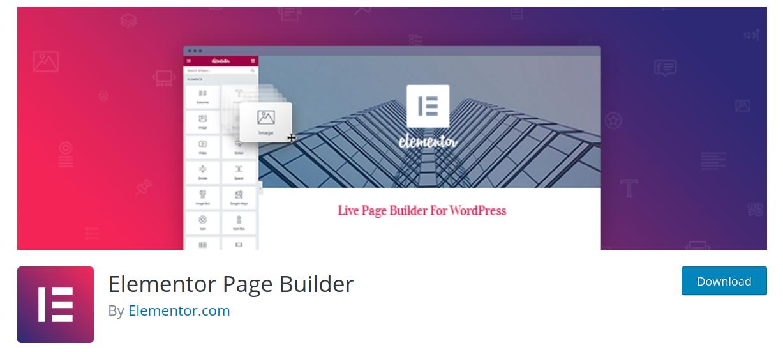 elementor wordpress page builder plugin header