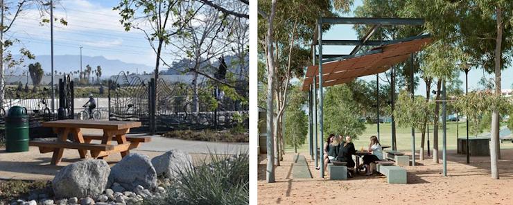 izquierda: Lewis MacAdams Riverfront Park, foto a través de Andrew Pasillas/UCLA.   derecha: foto a través de Hassell.