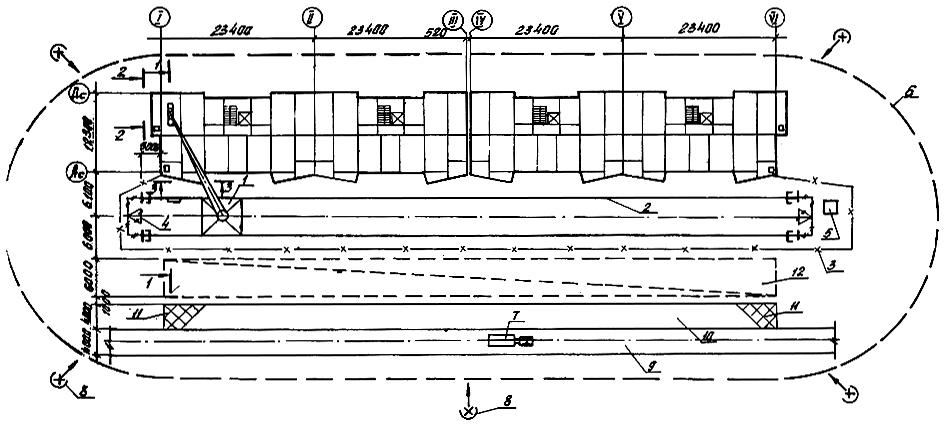ЦЭиПСК  1 башенный кран КБ 405 1А 2 подкрановый путь 3 ограждение подкранового пути 4 контур заземления 5 контрольный груз 6 границы зоны работы