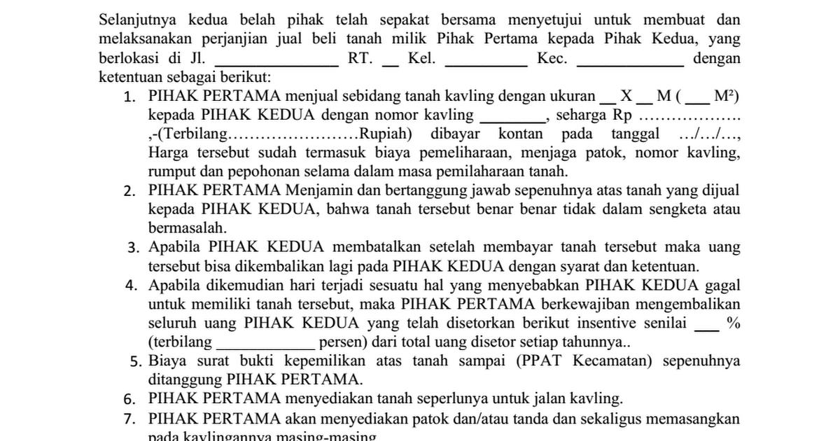 Surat Perjanjian Jual Beli Tanah Kontan Lokasi Kavlingan Docx