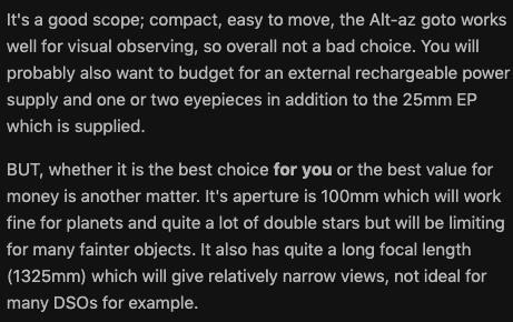 User review for the NexStar 4Se