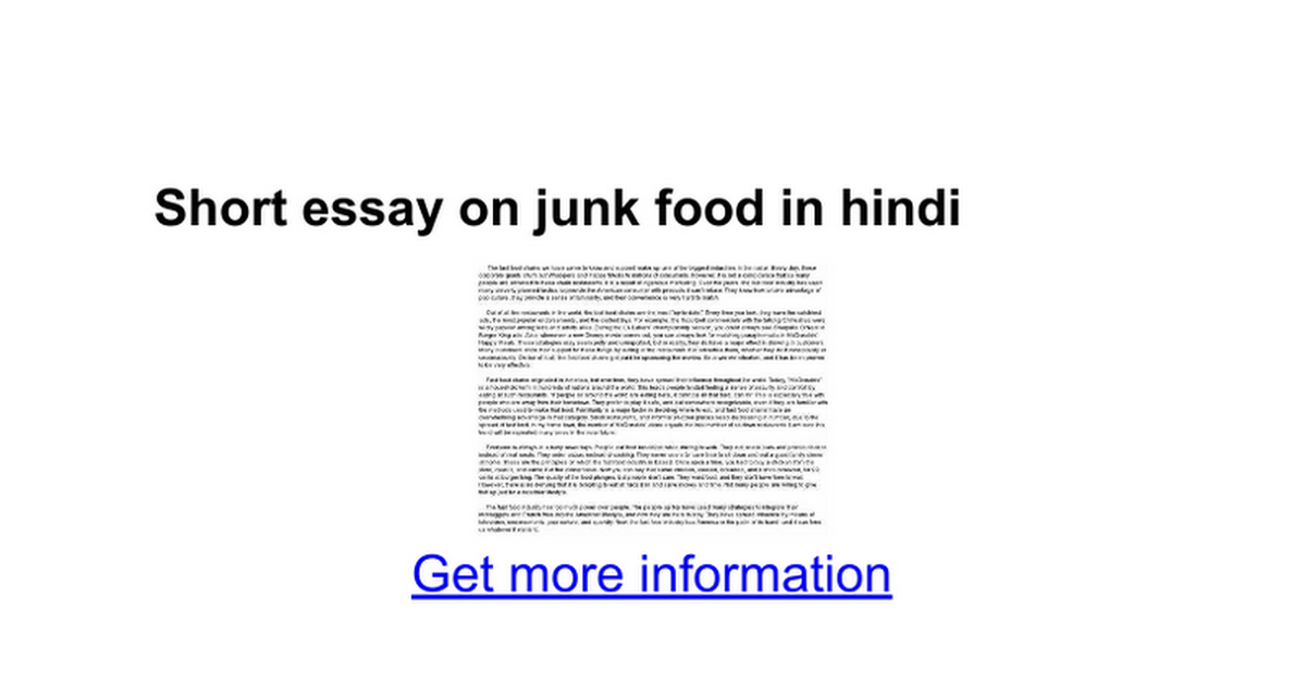 short essay on junk food in hindi google docs