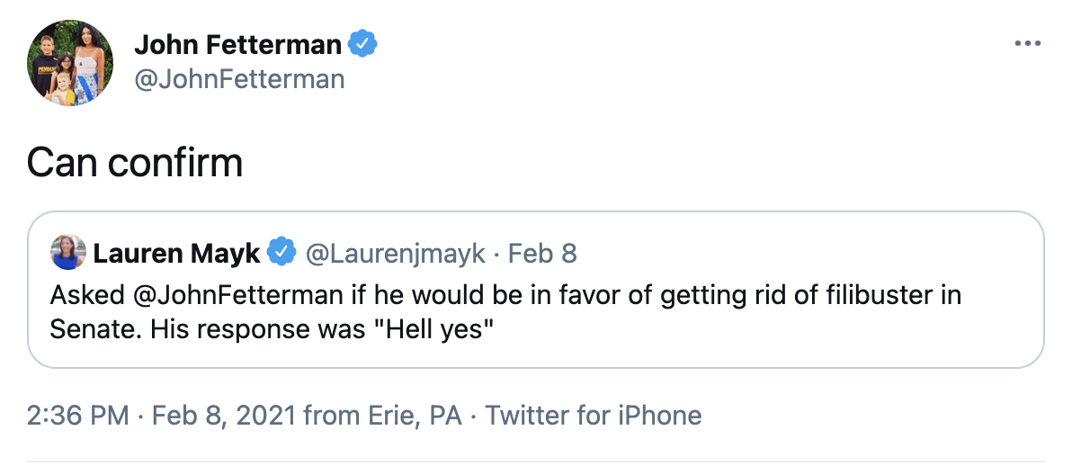 "Twitter screenshot: Fetterman saying ""can confirm"""