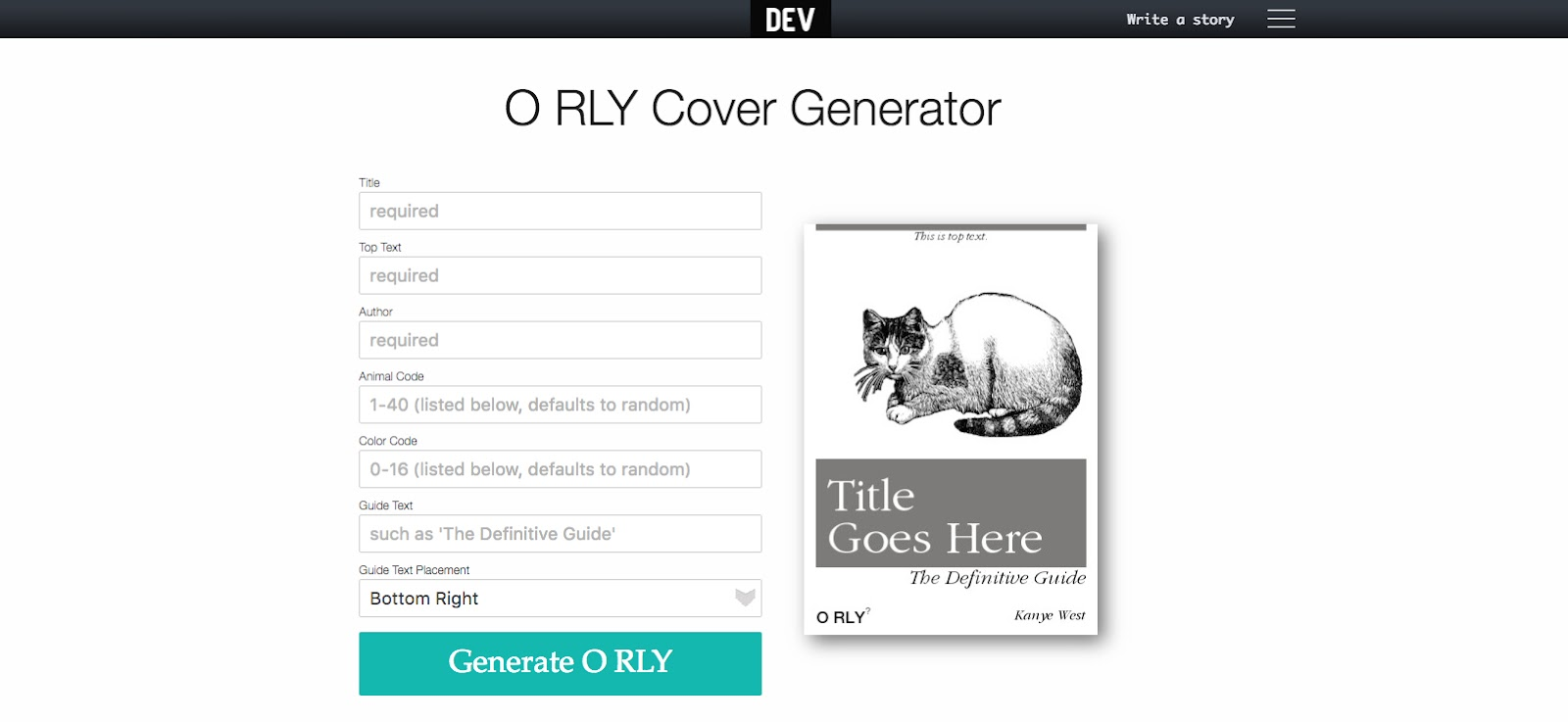 O RLY Cover Generator homepage