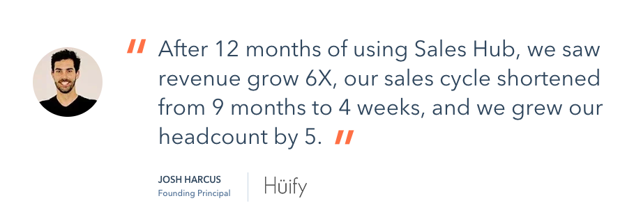 Hubspot sales tools product specific testimonial.