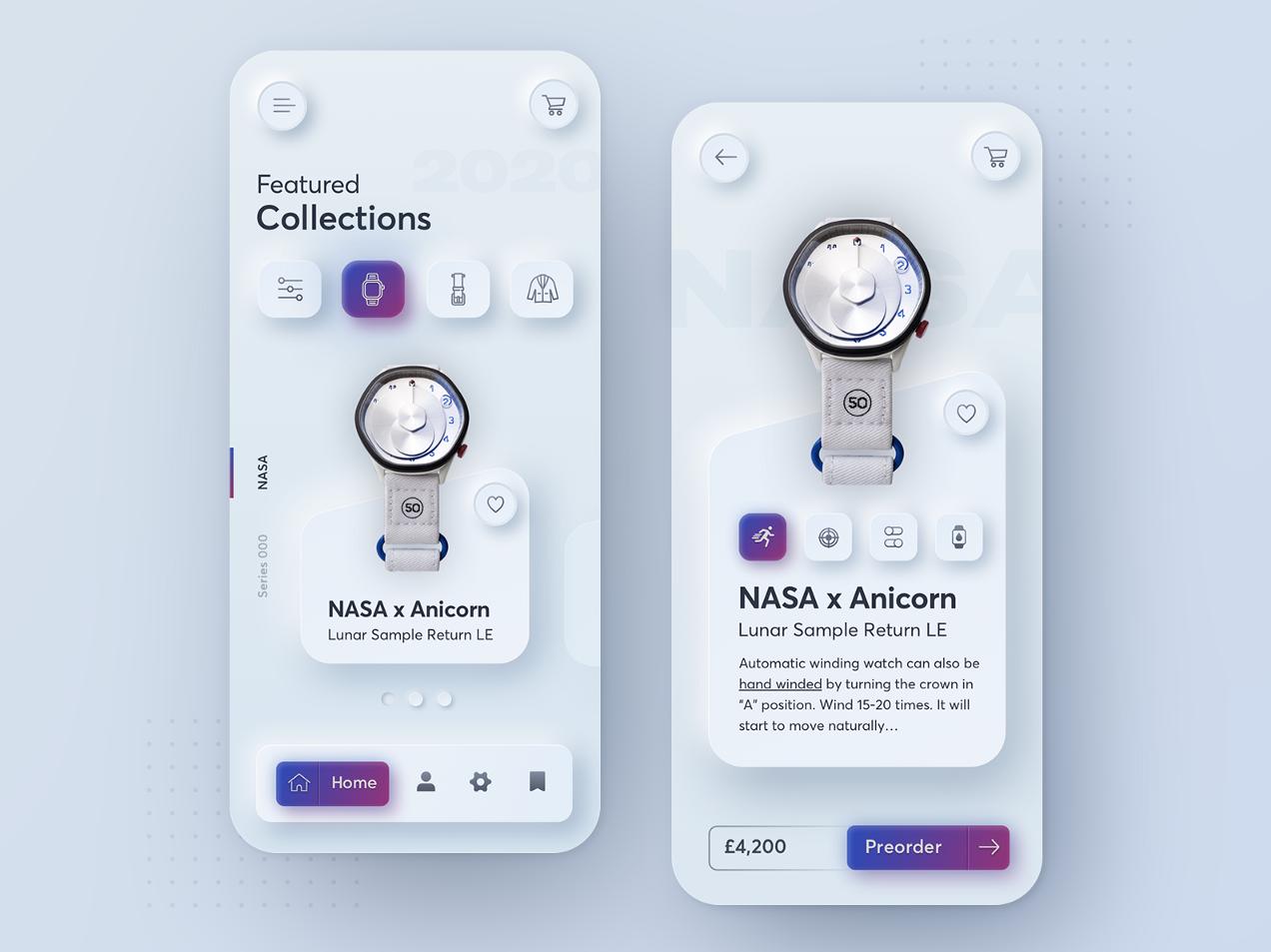 watch shop user interface - neumorphic design.