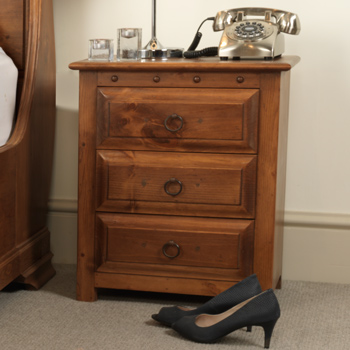 Solid wood bedside cabinet with three drawers