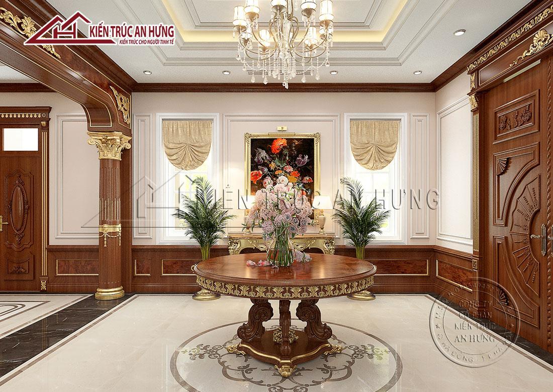 Đèn chùm thiết kế tinh xảo kết hợp với các họa tiết trang trí mạ vàng nơi diện tường, cột, bàn mang đến vẻ đẹp tinh tế, cao sang, lộng lẫy cho khu vực đại sảnh