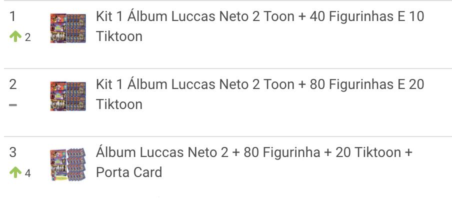 Ranking de álbumes Luccas Toon más vendidos en Brasil