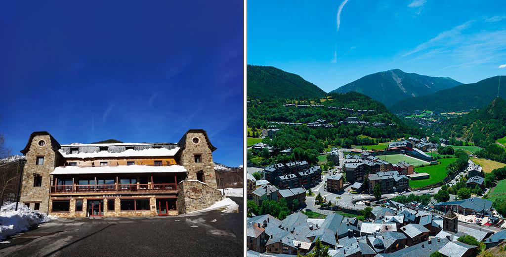 Hotel Niunit en Andorra en invierno / Vista aérea Ordino en verano