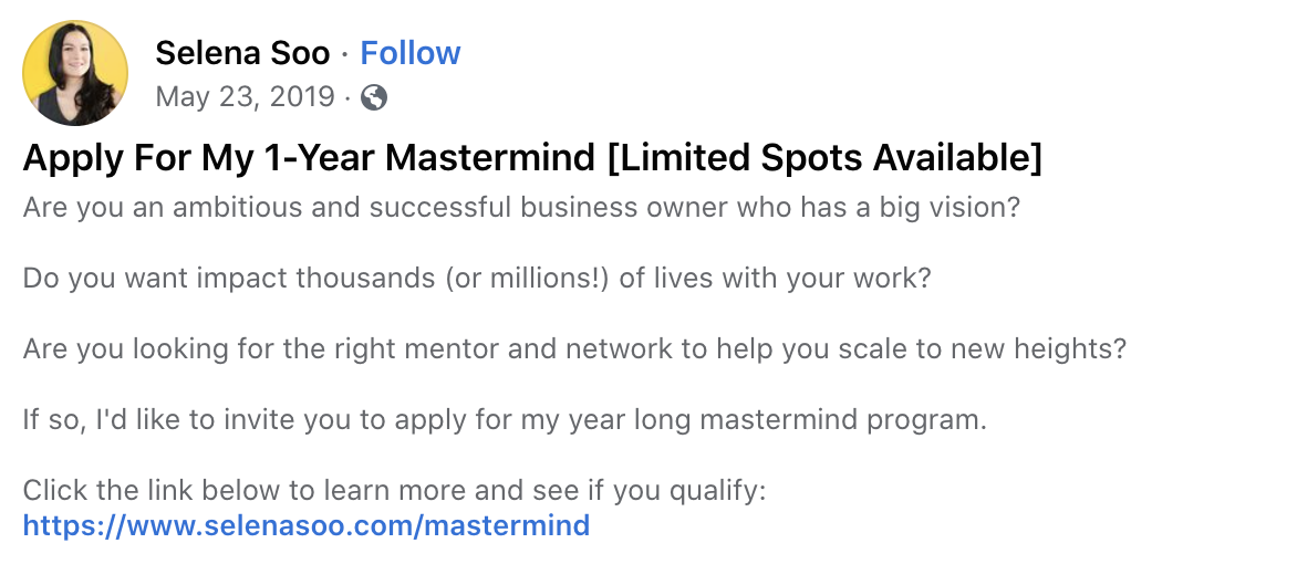 """Facebook post about Selena Soo's mastermind that states, """"Limited spots available."""""""