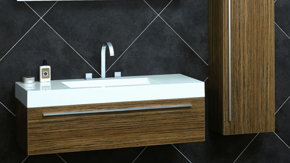 Nice-Wall-Mounted-White-Sinks-And-Wooden-Cabinets-Dark-Tile-Wall.jpg